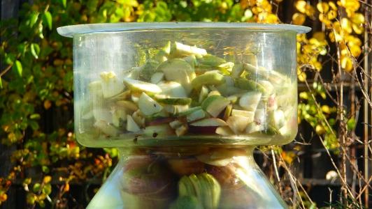 ocet jabłkowy - fermentacja trwa 3 - 4 tygodnie, zależnie od temperatury otoczenia